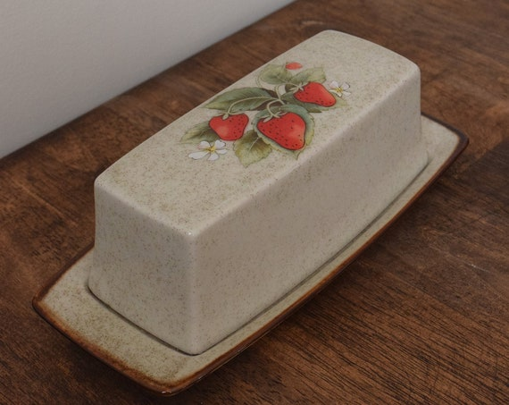 Strawberry Stoneware Butter Dish