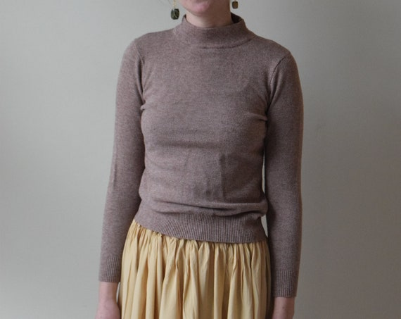 Taupe Long Sleeve Mock Neck
