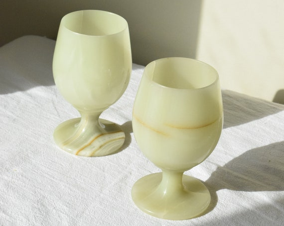 Set of Two Marble Wine Glass