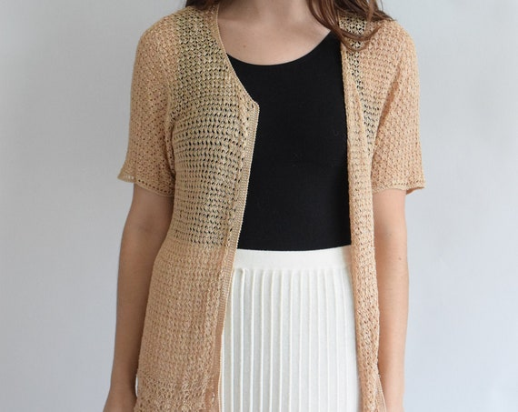 Peach Cream Crochet Cardigan