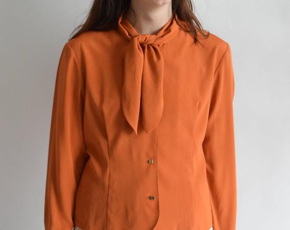 Pumpkin Ascot Blouse  |  Print Optional