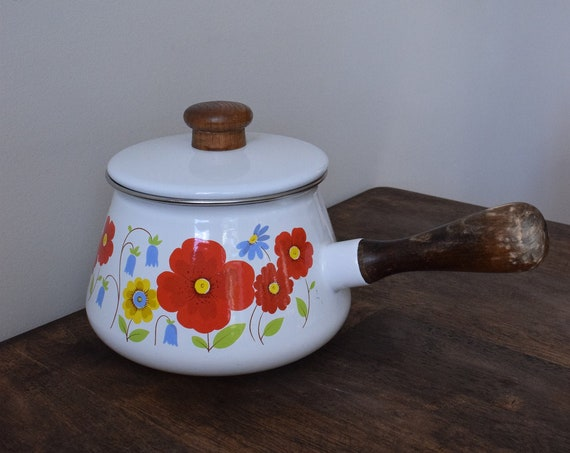 Enamel Floral Cooking Pot with Handle