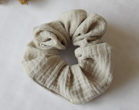 Pearl Grey Waffle Cotton Hair Scrunchie