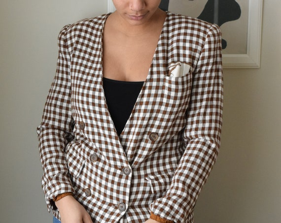 Brown & White Gingham Blazer