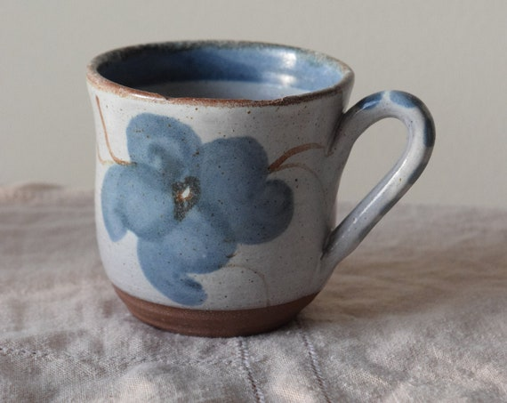 Vintage Blue Flower Coffee Cup