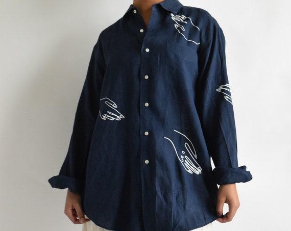 Paloma Navy Linen Button Down
