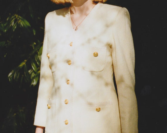 Cream & Gold Wool Pocket Coat