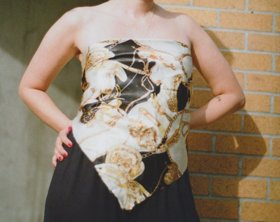 Black & Cold Carriage Satin Scarf Top