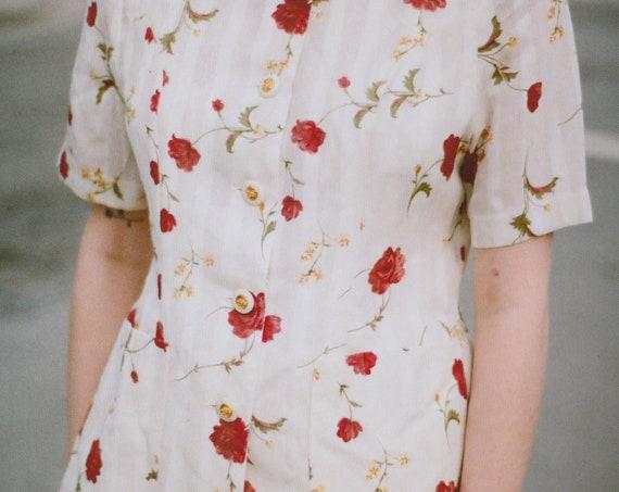 Vintage Rose & Pinstripe Blouse