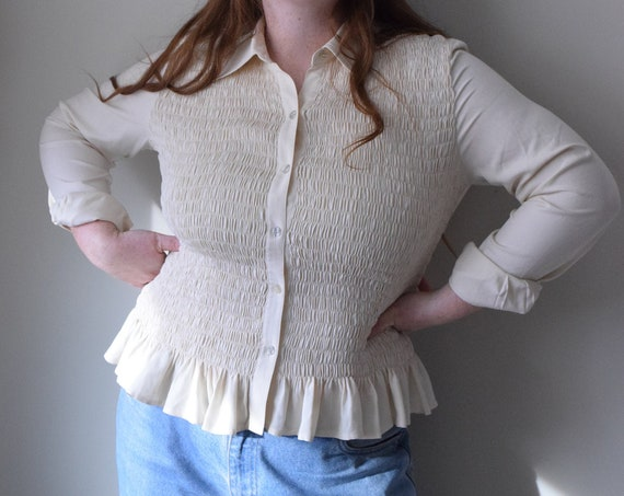 Ivory Pleated Blouse