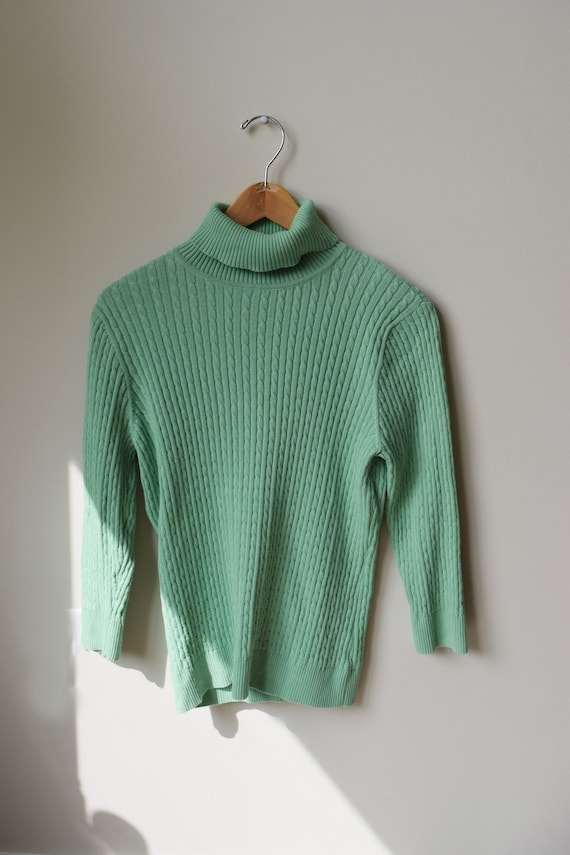 Mint Cable Knit Turtleneck