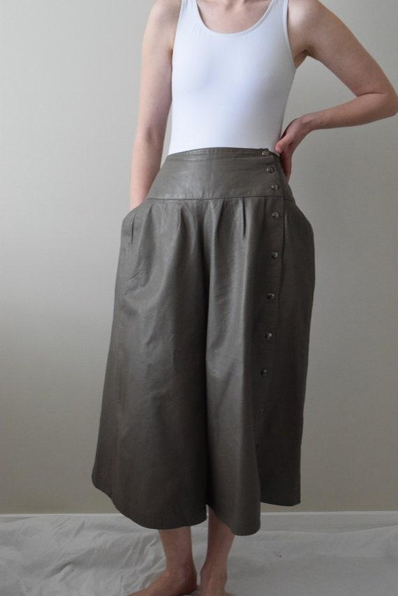 Stone Leather Culotte Pants