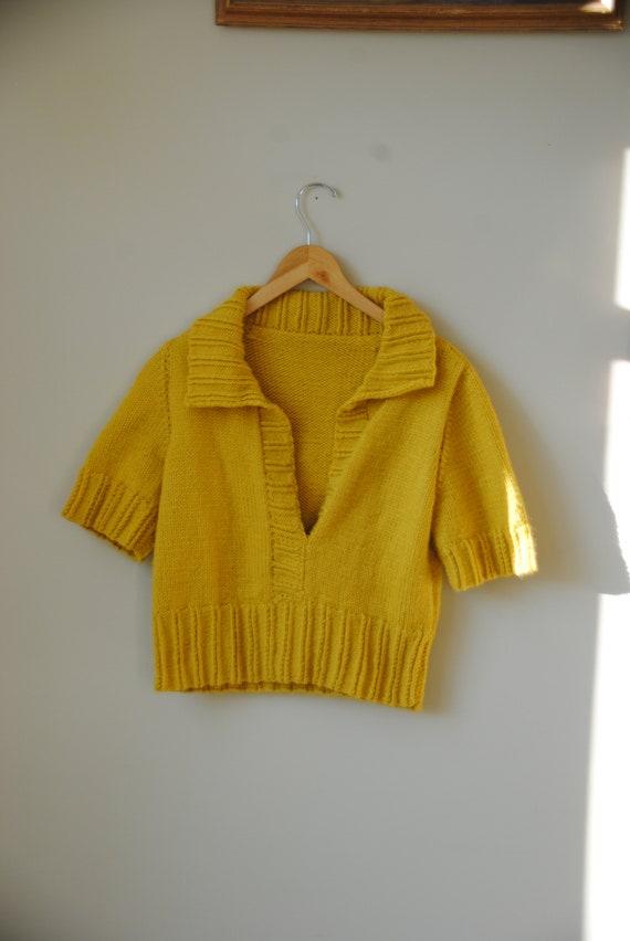 Handknit Dandelion Yellow Polo