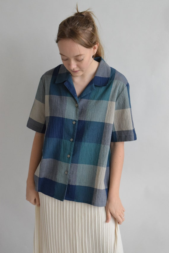 Teal Plaid Short Sleeve Blouse