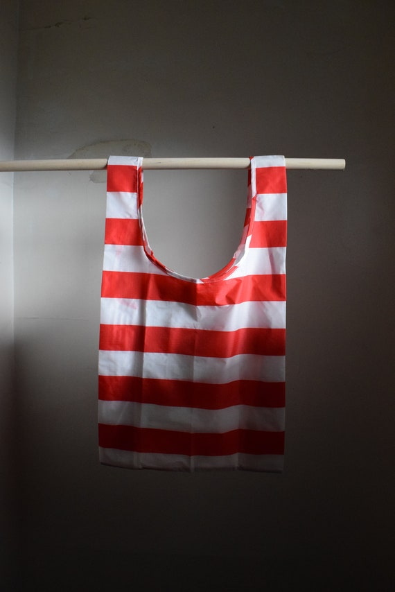 Baggu Reusable Tote  |  Red Thick Stripe