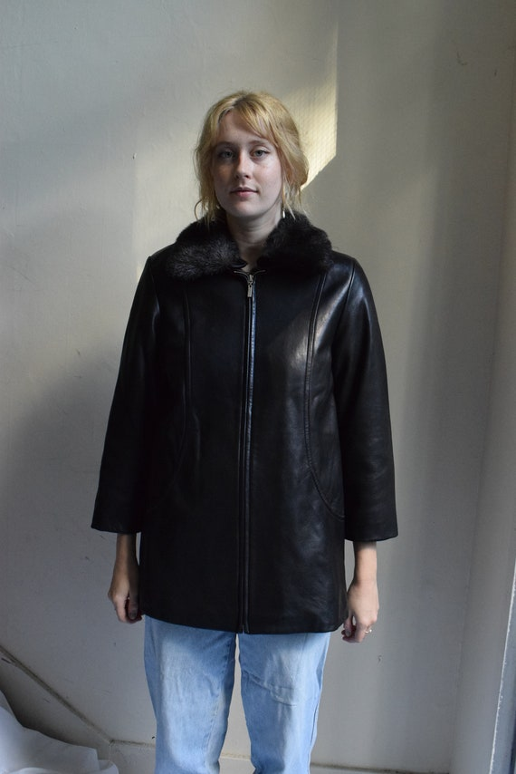 Faux-Fur Collared Leather Jacket