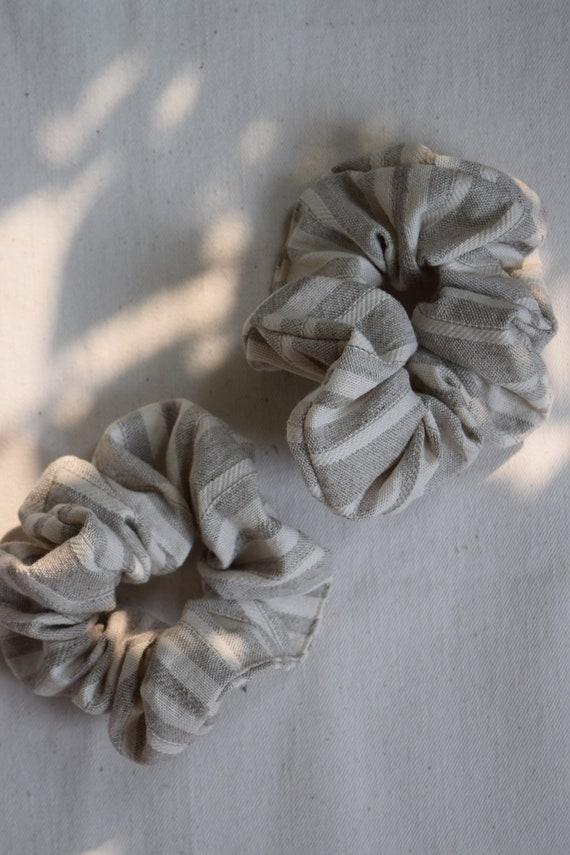 Ecru Striped Hair Scrunchie