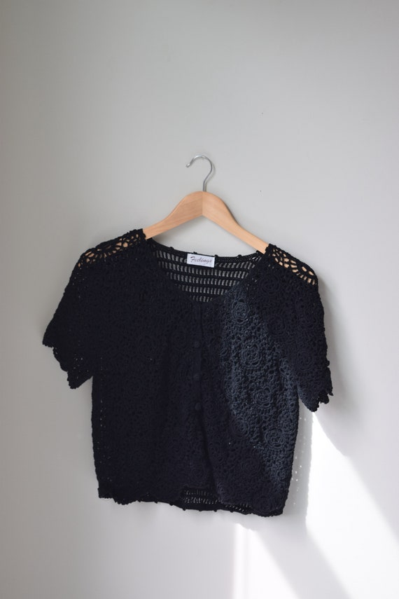 Crochet Black Tee