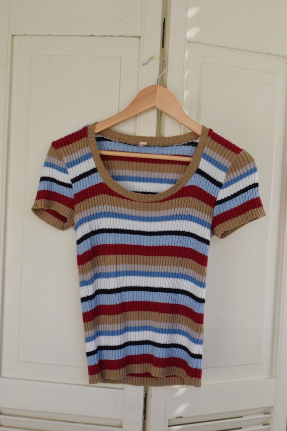 Multi-color Striped Knit Tee