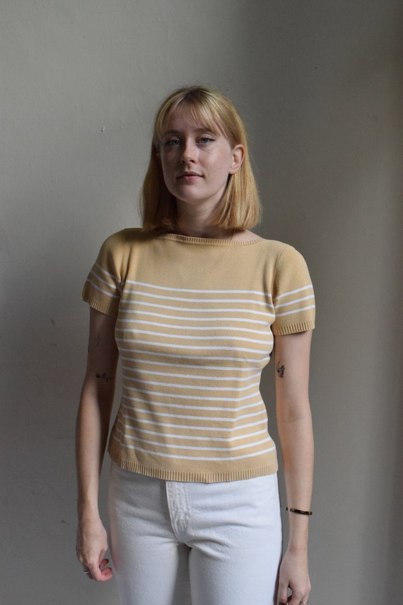 Tan Striped Cotton Box Tee