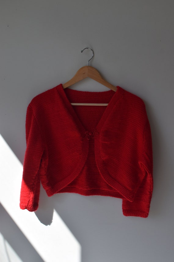 Handknit Red Cropped Cardigan