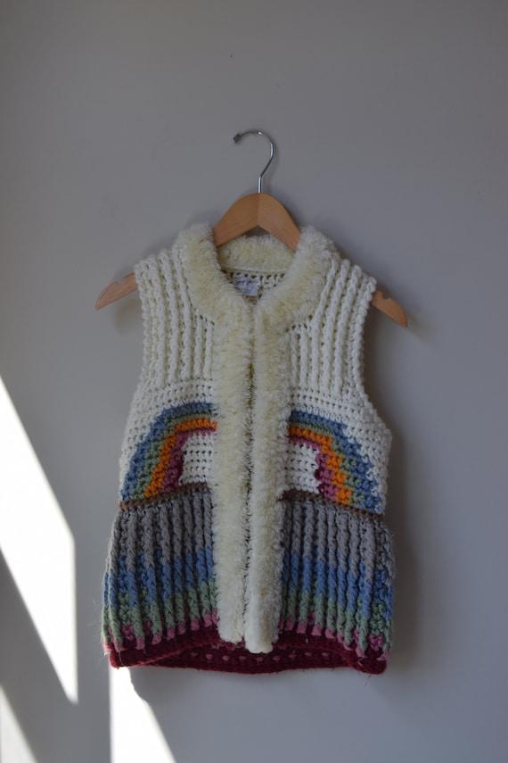 Rainbow Shag Sweater Vest