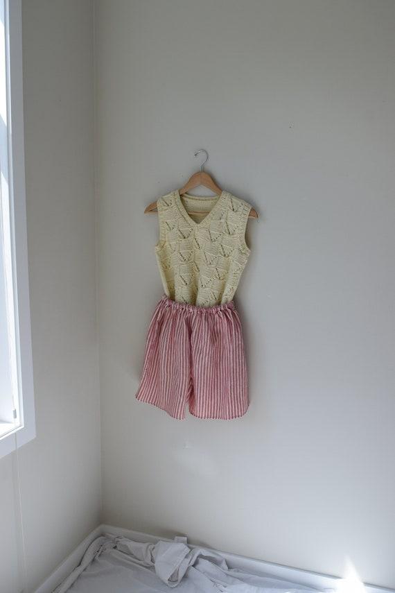Ecru Hand-knit Sweater Vest