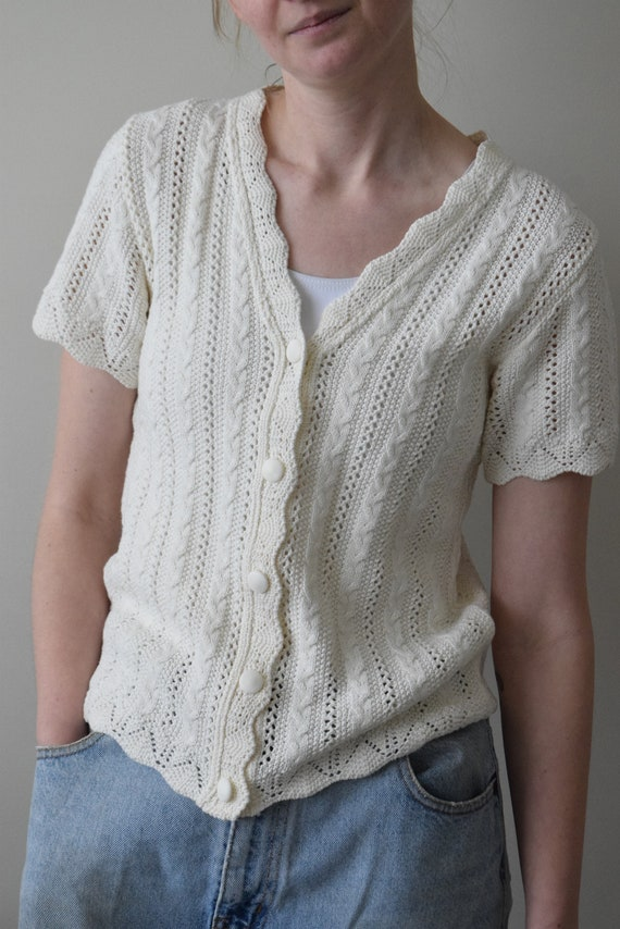 Cream Eyelet Knit V-neck