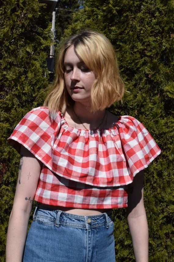 Teo Red Gingham Ruffled Blouse