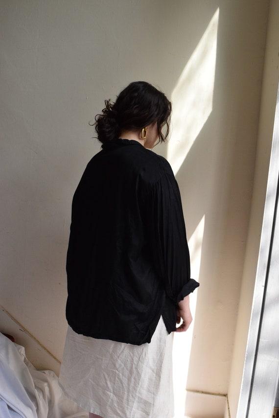 Oversized Black Rayon Blouse    Print Optional