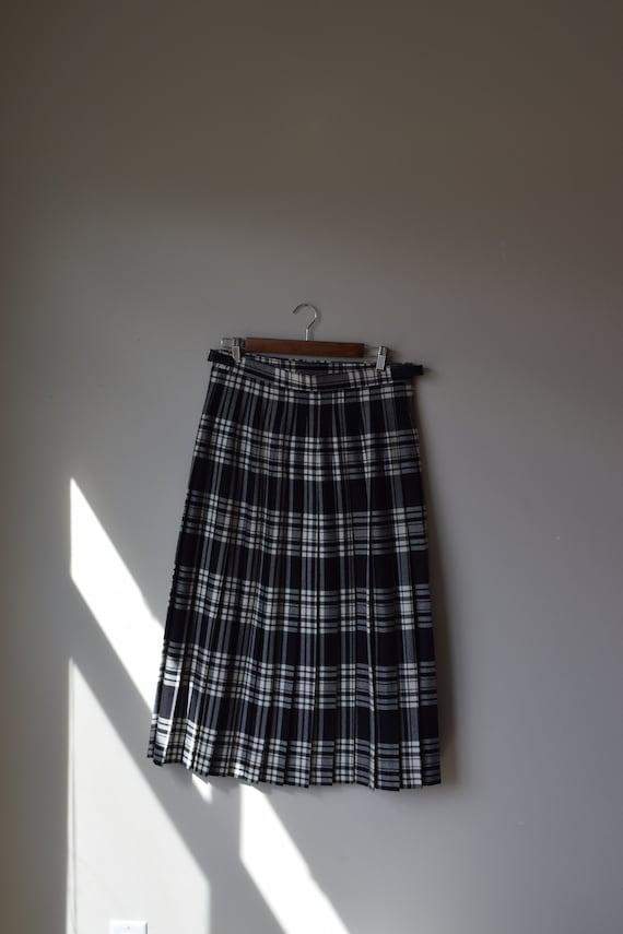 Black & White Wool Tartan Skirt
