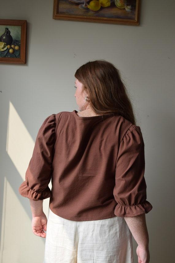 Walnut Cotton Puff Sleeve Top
