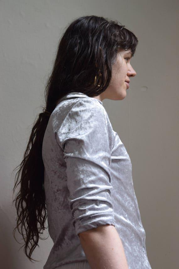 Metallic Silver Crushed Velvet Button Up Shirt ++  SALE ++