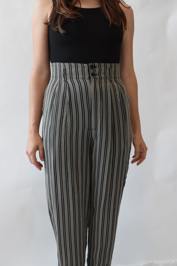 Navy & White Pinstripe Pants