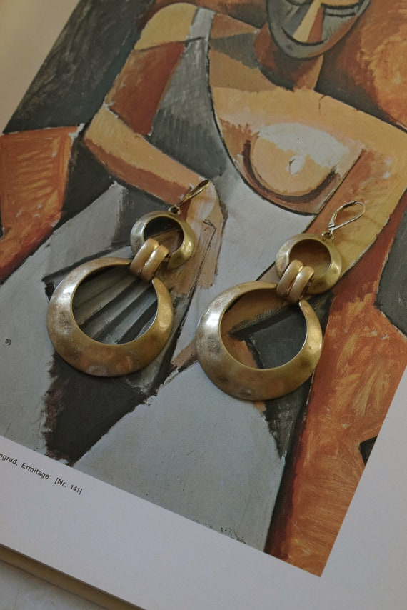 Vintage Antiqued Brass Earrings
