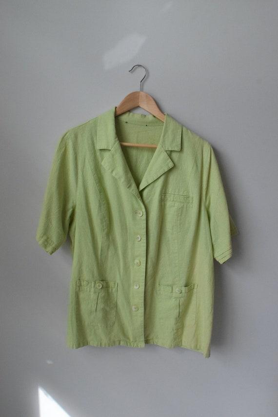 Lime Linen Short Shirt
