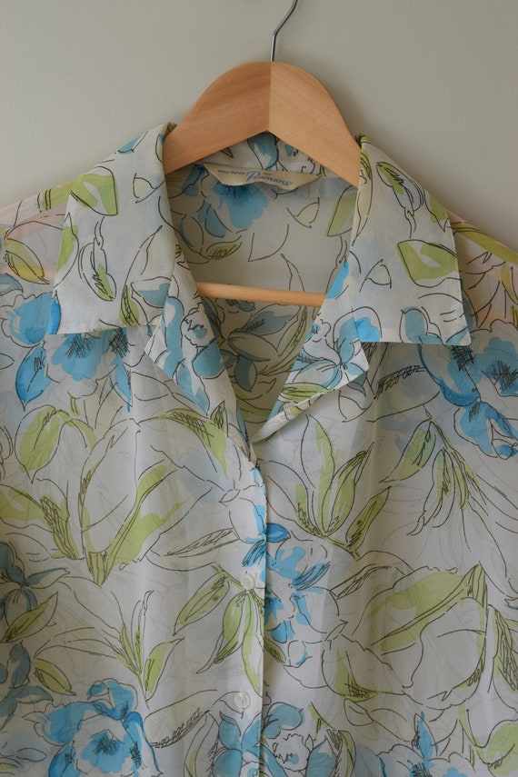 Sheer Etched Floral Blouse