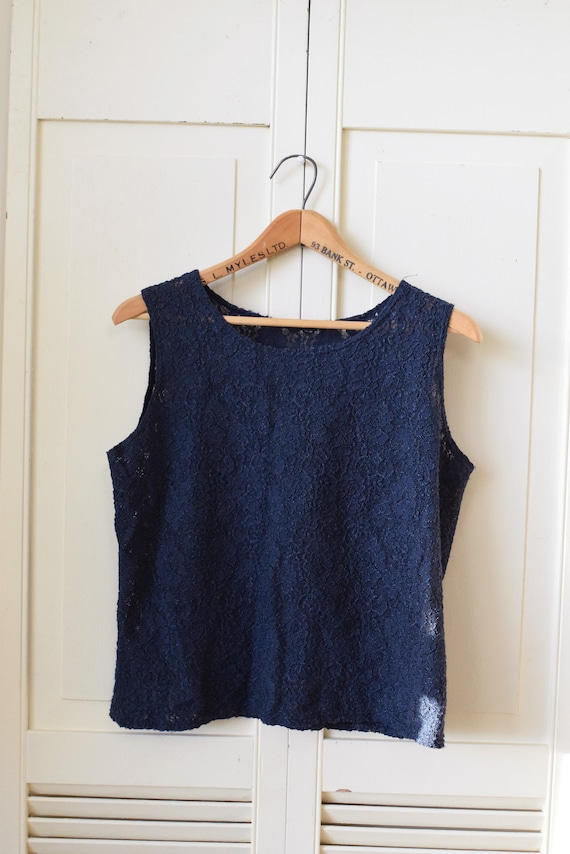 Navy Blue Lace Square Tank