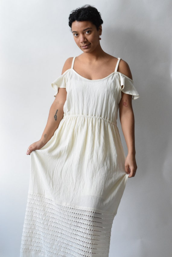 Cream Cotton Off Shoulder Dress