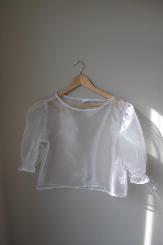 Pearl Organza Puff Sleeve Blouse