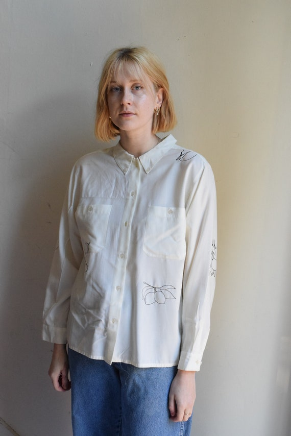 White Fruit Print Button-Up Shirt