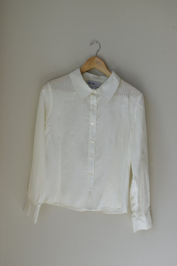 Pinstripe Silk Blouse