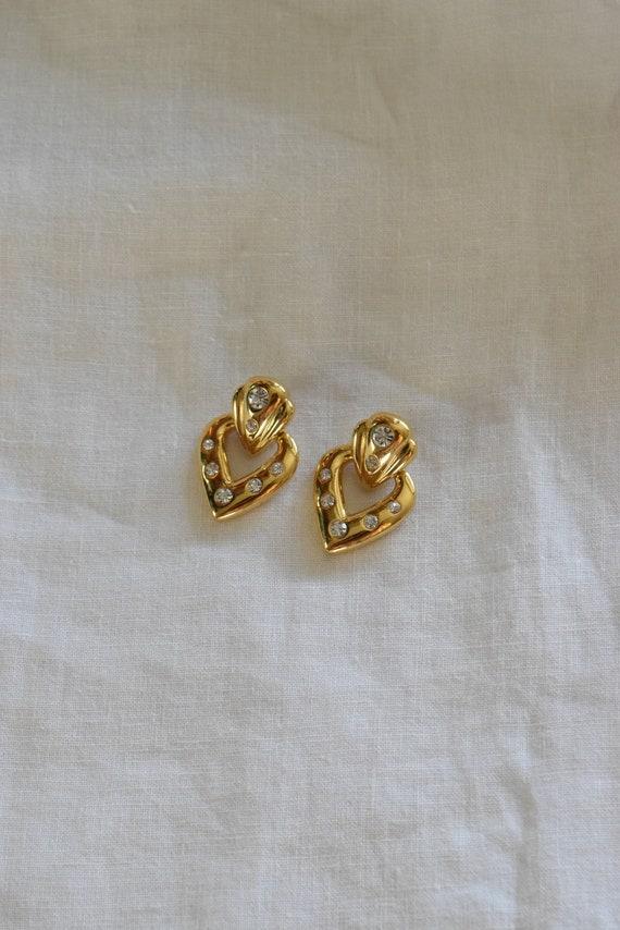 Rhinestone Gold Heart Doorknocker Earrings
