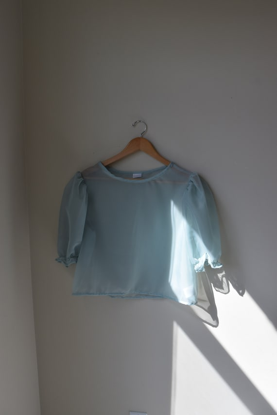 Sheer Sea Foam Puff Sleeve Top