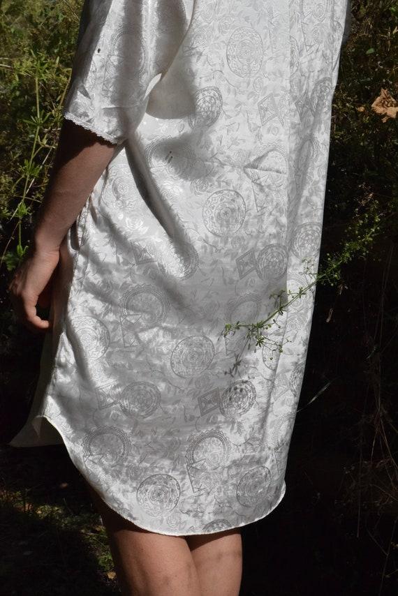 White Satin Paisley Shirt Dress