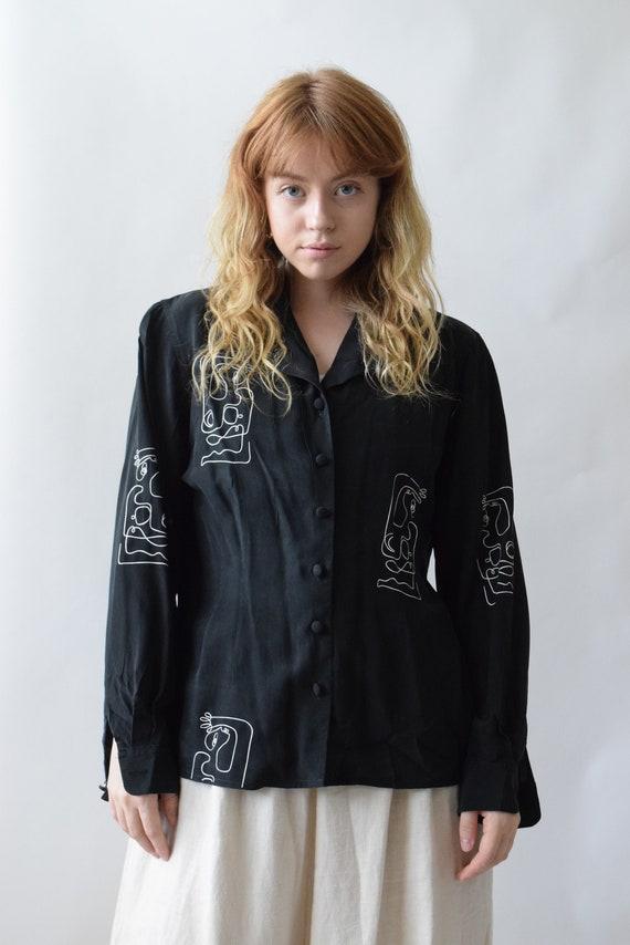 Black Reina Silk Long Sleeve Blouse