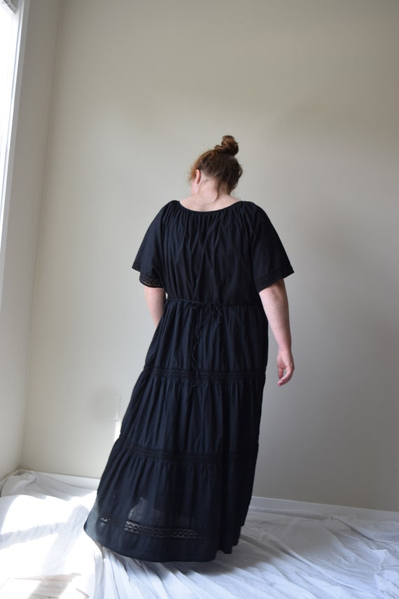 Black Cotton Tiered Dress