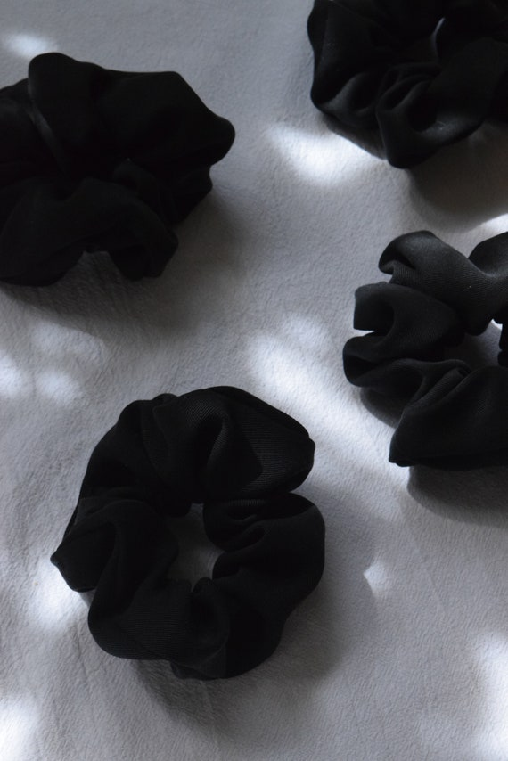 Black Lyocell Hair Scrunchies