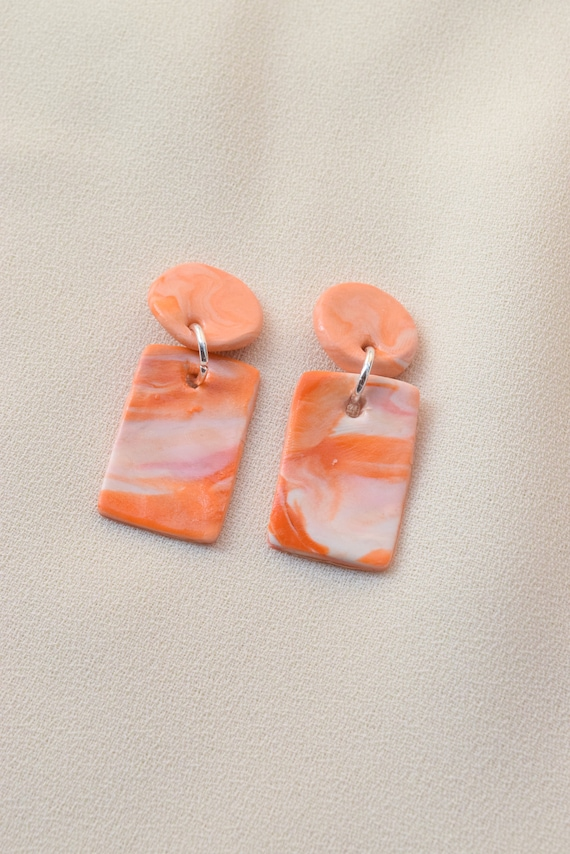 Marbled Apricot Polymer Earrings