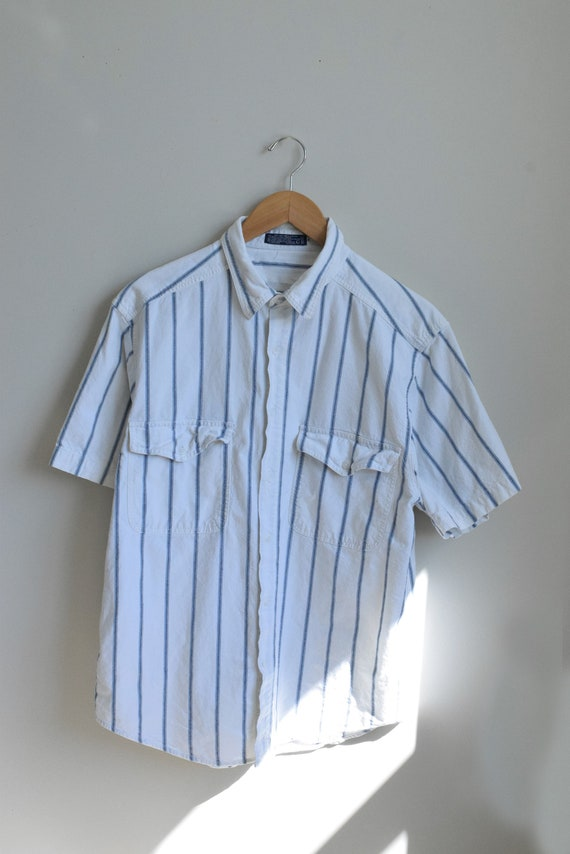 White and Blue Pinstripe Shirt
